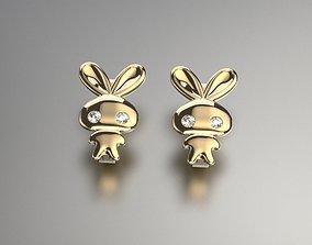 Rabbit earrings 3D printable model