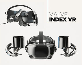 Valve Index VR headset with controllers and sensors - 3D 1