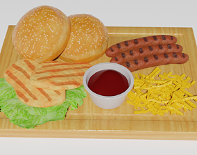 Wood platter with commonly liked food 3D asset
