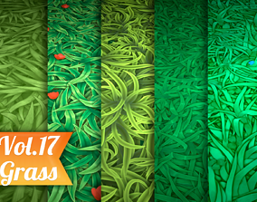 3D asset Stylized Grass Vol 17 - Hand Painted Texture Pack