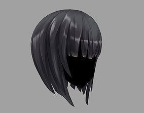 rigged 3D Hair anime girl 04 Low poly