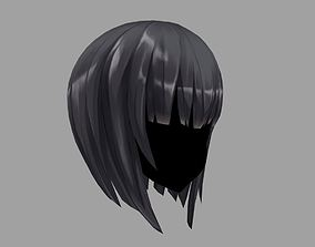 3D Hair anime girl 04 Low poly rigged
