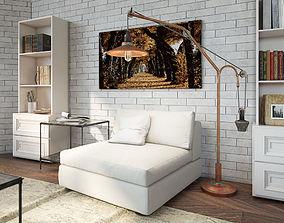 3D asset Rustic Modern Copper Lamp