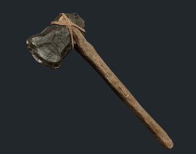 3D asset PBR Crafted Stone Axe