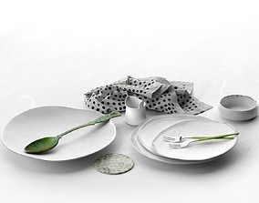 3D model Plates Spoon Forks Bowl and Napkin