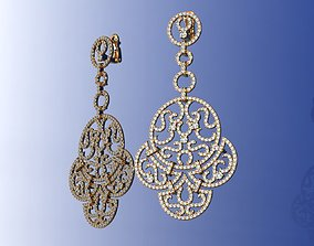 Luxury Brand Gold Diamond Earrings 3D print model