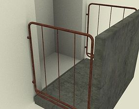 Balcony Dirty and Rusty 3D model building-deck