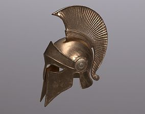 3D model VR / AR ready Greek helmet