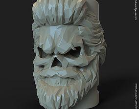 lowpoly Skull bearded vol1 flower pot 3D printable model 2