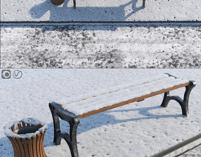 3D Snow Bench and Sidewalk with street