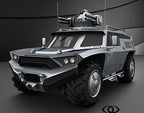 Armored vehicle with rocket launcher 3D model