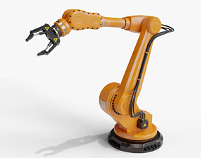 Industrial robot arm dirty 3D model rigged