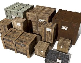 Transport crates Pack3 PBR 3D model