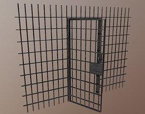 3D model Prison bars with door