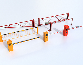 Boom Barrier Gates Urban Equipment Set 3D asset