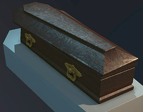 3D Old wooden coffin