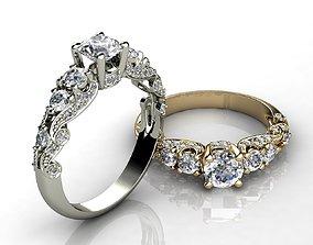 Ocean Waves Style Engagement Ring 3D printable model
