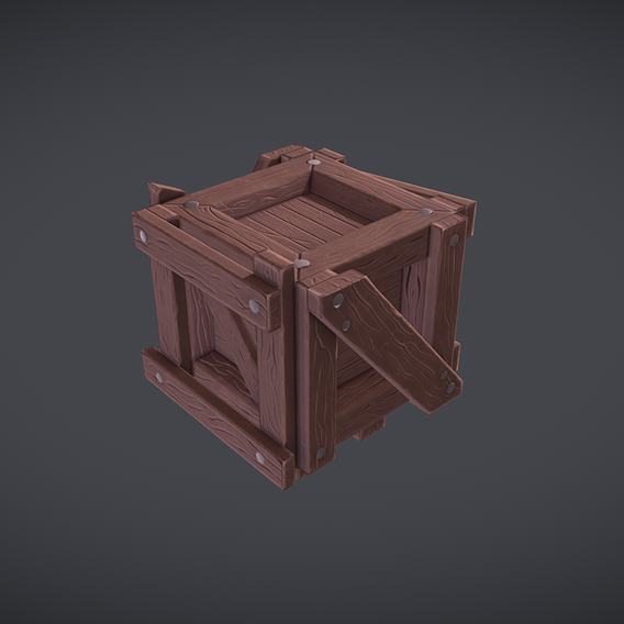 Low Poly Stylized Wooden Crate