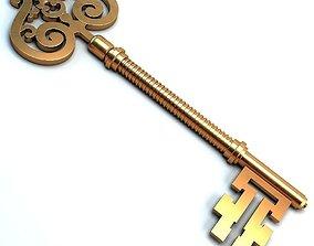 3D Golden key golden
