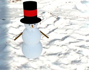 Snowman 3D model game-ready