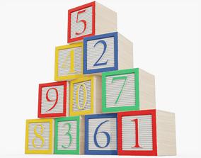 Wooden Number Blocks 3D model