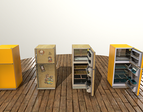 Refrigerator 3D model rigged low-poly