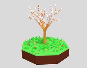 Low Poly Cartoon Almond Tree 3D asset