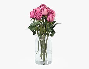 Rose flowers in a vase 3D