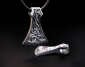 3D print model Viking axe pendant with patterns