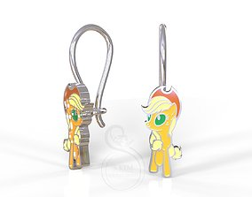 3D printable model Applejack pony kid earrings