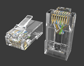 connection RJ45 Ethernet Connector with Wires 3D model