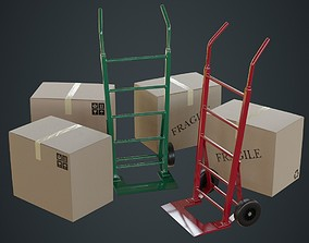 3D asset Hand Truck And Boxes 1A