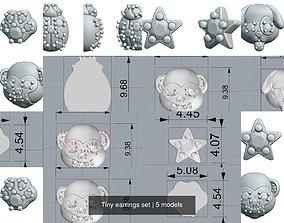 3D model Tiny earrings set