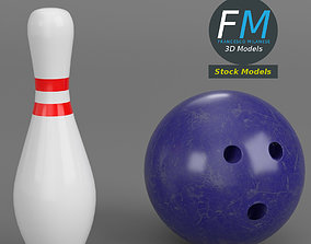 Bowling ball and pin 3D