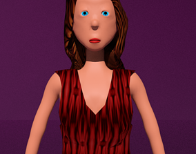 free model of a woman in a dress with textures 3D asset