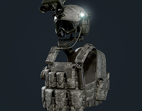 3D model Military Gear Equipment Vest and Helmet Game