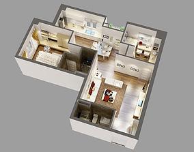 Detailed House Cutaway 3D Model