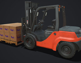 3D model Toyota Pneumatic Tire Forklift with Boxes