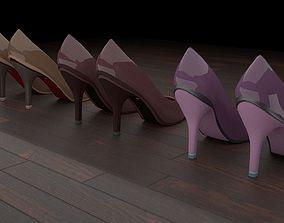 3D asset High heel women shoes 01