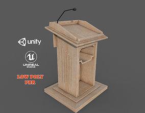 Wooden Podium PBR 3D model