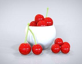 animated VR / AR ready Bowl of Cherries 3D model