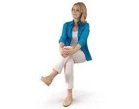 City Woman Sitting 3D asset
