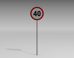 3D model 40 Speed limit sign