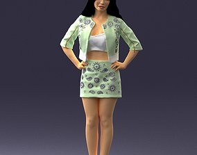 Brunette in a green jacket and skirt 0251 3D Print Ready