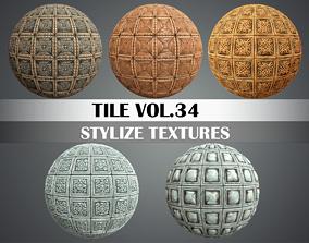 3D asset Stylized Wood Tiles Vol 34 - Hand Painted 1