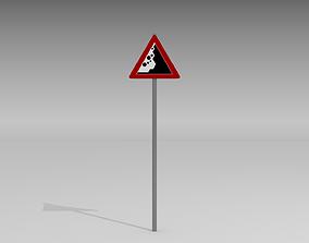 Falling rocks sign 3D