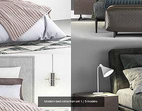 3D Modern bed collection set 1