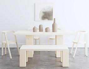 Minimalist Dining Set 3D