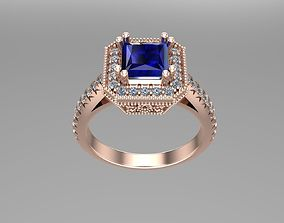 Princess diamond gold rings NN154 3D printable model