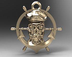 rudder 3D printable model Pirate skull
